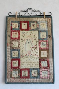 wall hanging stitcheries farmgirlstitching  Great layout Hanging Quilts, Quilted Wall Hangings, Small Quilts, Mini Quilts, Embroidered Quilts, Doll Quilt, Embroidery Applique, Embroidery Stitches, Garden Embroidery