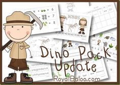 Free Dinosaur Educational Printable Pack Update for Kindergarten through 2nd grade