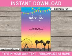 Coachella Party Thank You Cards template – bright colors Thank You Note Wording, Thank You Card Template, Thank You Notes, Thank You Cards, Coachella Party Decorations, You Tude, Coachella Birthday, 7 Year Olds, Daughter Love
