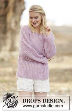 Patentstrikket sweater i mohair og silke