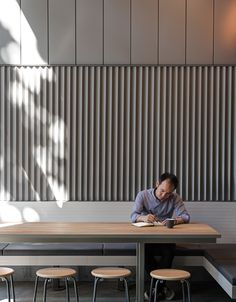 HWKR Food Centre in Melbourne by Craig Tan Architects Australian Interior Design, Interior Design Awards, Commercial Interior Design, Commercial Interiors, Restaurant Design, Modern Restaurant, Home Design, Wall Design, Banquette Seating
