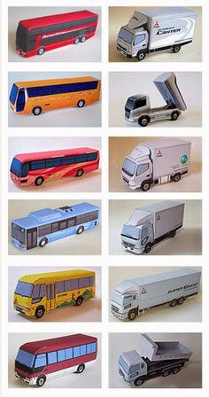 CASITA DE PAPEL: Dollhouse paper: bus and trucks, autobús y camiones by Mitsubishi