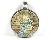 Vintage Map Pendant of Anchorage, Alaska, in Glass Tile Circle - CarpeDiemHandmade