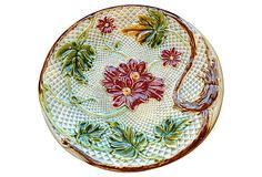 1910-1950 French Aqua Majolica Plate from France