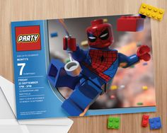 Lego Spiderman Invitation - Editable and Printable - print as many copies as you…