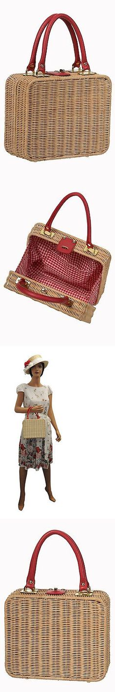 Bags Handbags and Cases 74962: Retro Ladies 1940 S 1950 S Style Rattan Wicker Handbag Box Bag -> BUY IT NOW ONLY: $29.95 on eBay!