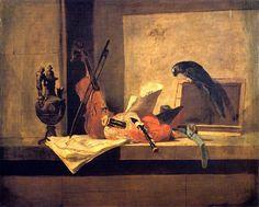 Jean-Baptiste-Siméon Chardin (1699-1779) Nature morte aux instruments de musique et perroquet Private Collection