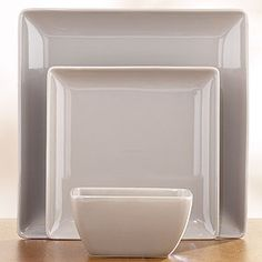Taupe Coupe Square Dinnerware Sets Of 2