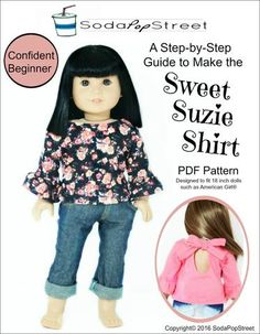 Soda Pop Street Sweet Suzie Shirt Doll Clothes Pattern 18 Inch American Girl Dolls   Pixie Faire
