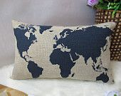 cotton linen pillow  world map decorative pillow cover / home decor Cushion cover brown Home Decor Throw pillow Decorative pillow