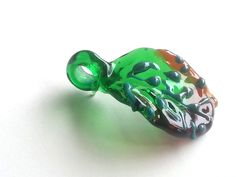 Lampwork Glass Leaf Pendant - Unique Handmade - Emerald and Petrol Green - Reddish Topaz by LapintiiraArtShop on Etsy