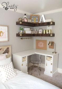 ideas for small rooms women Decorative and Small Bedroom Design Ideas for This Year Part 20 Room Ideas Bedroom, Teen Room Decor, Small Room Bedroom, Small Apartment Bedrooms, Guest Bedrooms, Cool Room Decor, Office In Bedroom Ideas, Room Decor Teenage Girl, Girls Bedroom Organization