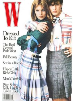 Kate Moss Turns 40 - Dressed to kilt on the cover of W's September 1995 issue, photographed by Mario Testino.