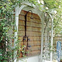 Ideas for…Fresh-Air Showers   Define the Space -   • When room is limited, create a niche with a corner shower or wall-mounted showerhead.   • Use a trellis to define the space around a wall-mounted fixture. Plant a climbing vine to create an aromatherapy session for bathers.    CoastalLiving.com