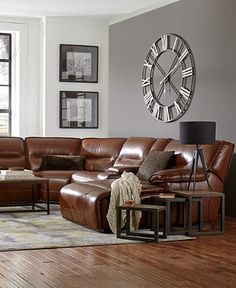 Beckett Leather Power Reclining Sectional Collection - Furniture - Macy's // good reviews