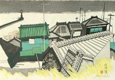 関野準一郎『白須賀(漁村) 東海道五十三次33』32.5cm×(横)45.5