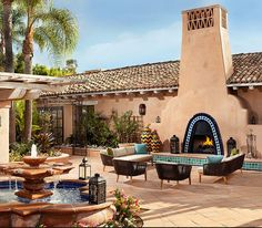 Small yard patio update garden love pinterest - Spanish Style Courtyard With Fountain Fountains Water