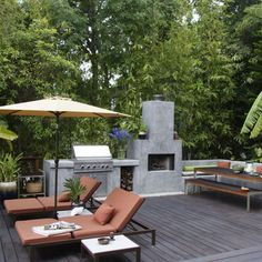 Patio Plans Designs Photo Gallery Back Patio with lounge chair and outdoor kitchen