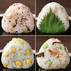 Simple Onigiri Variations (Rice balls - O-nigiri, also known as o-musubi, nigirimeshi or rice ball, is a Japanese food made from white rice formed into triangular or cylindrical shapes and often wrapped in nori. Sushi Recipes, Asian Recipes, Dinner Recipes, Cooking Recipes, Healthy Recipes, Onigiri Recipe, Good Food, Yummy Food, Japanese Dishes