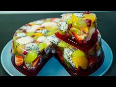 Agar Agar Fruit Cake in Hindi Jello Recipes, Cake Recipes, Köstliche Desserts, Delicious Desserts, Jelly Cake, Cooking Cake, Dessert Decoration, Creative Cakes, Food Plating