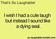 I wish I had a cute laugh but instead I sound like a dying seal