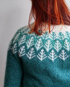 A top-down Icelandic-inspired stranded yoke sweater