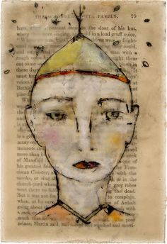 """Lynn Hoppe 'the tree tender' watercolors, gouache, oil pastels, casein paint and beeswax on old book page - approx. 4"""" x 6"""""""
