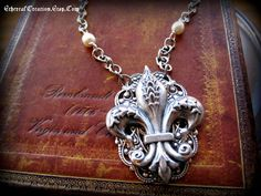 Fleur De Lis Necklace  Free Shipping by Etherealcreation on Etsy, $35.00