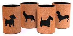 Tins covered with cord and decorated with animal designs.  https://the3rsblog.wordpress.com/2012/07/29/chalkboard-animals-anyone/