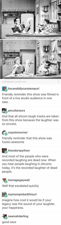 I Love Lucy, mother of the laughs for sitcom laugh tracks and all around hilarious show Tumblr Stuff, My Tumblr, Tumblr Posts, Tumblr Funny, Funny Quotes, Funny Memes, Hilarious, Videos Funny, Funny Love