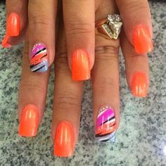 Colorful Nail Designs - 35 Creative DIY Nail Art for Summer this Year Fancy Nails, Cute Nails, Pretty Nails, Fingernail Designs, Toe Nail Designs, Nails Design, Orange Nail Designs, Cute Summer Nail Designs, Colorful Nail Designs