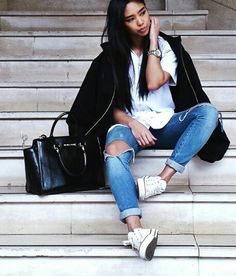 Urban fashion, chill outfit, ripped jeans, converse, street style
