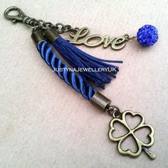 LUCKY LOVE Navy Blue keyring by JustynaJewelleryUK on Etsy, £4.00
