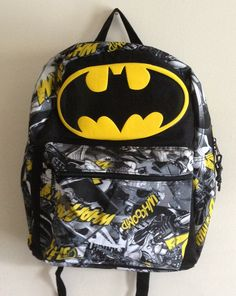 429ac76142c Batman backpack. Epic first backpack for my son to start his very first day  of school with. (Under 10)