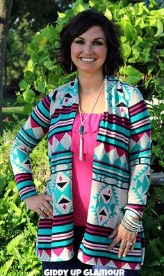 Hooked on a Feeling Jade, Pink and Navy Aztec Sweater www.gugonline.com