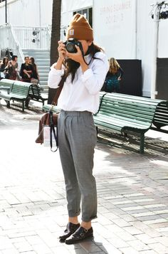 classic white shirt, grey pants with brown accents