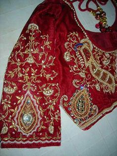 Blouse Wedding Blouses, Zardozi Embroidery, Jaipur, Wedding Designs, Blouse Designs, Needlework, Floral Tops, Fashion, Scarlet