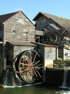 Grist Mill At Old Mill Restaurant on The Little Pigeon River, Pigeon Forge, Sevier County, Tennessee. Picture taken by Old  Shoe Woman on Flickr.