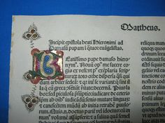 Five (5) Incunabula leaves from the famous Bible printed by the prominent press of Nicolas Jenson in Venice in 1479.