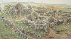 Reconstruction of a settlement from the iron age. six roundhouses and pottery from the Iron Age BC – 500 AD). Iron Age, Medieval, Alexandre Le Grand, Roman City, English Heritage, Prehistory, Ancient Architecture, Dark Ages, British History