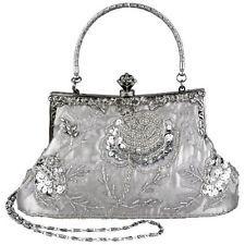 Ecosusi Vintage Seed Beaded Rose Wedding Bag Party Clutch Prom Evening Handbag