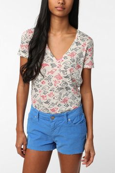 UrbanOutfitters.com > BDG Printed Sheer V-Neck Tee OH MY GOODNESS I LOVE THESE SHIRTS!
