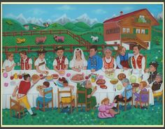 images of naive art | Appenzell Wedding / Glass 63x83cm