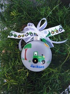 Tractor Ornament - Personalized Baby Keepsake Ornament - Hand Painted Glass Ball