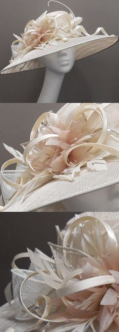 Mother of the bride hat on Etsy, ivory and oyster medium brim hat, wedding hat, feather flower, floral headpiece, race day, Royal Ascot, Kentucky derby, garden party. #motb #motherofthebride #weddings #ascothat #kentuckyderby #bighats #millinery #affiliatelink #fashion #racingfashion