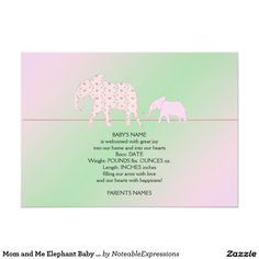 Shop Mom and Me Elephant Baby Announcement created by NoteableExpressions. Unique Baby Announcement, Baby Girl Birth Announcement, Elephant Baby, Baby Names, My Mom, New Baby Products, Joy, Happy, Baby Elephant