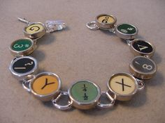 Typewriter Key Jewelry Bracelet  RARE AQUA and by magiccloset, $45.00