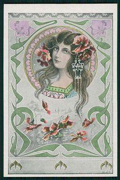 SG MJS Art Nouveay Lady Original Old c1905 French Postcard A4   eBay