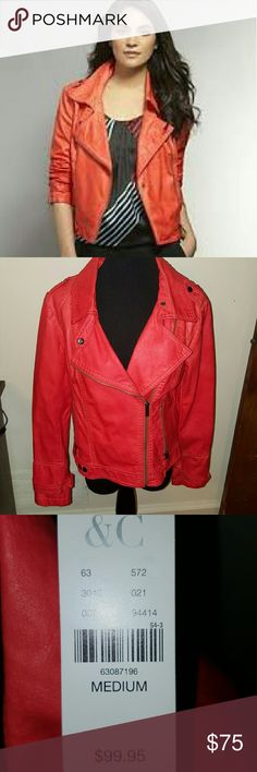 NWT faux leather moto jacket Brand new Orange moto jacket. Perfect for a fall pop of color! New York & Company Jackets & Coats