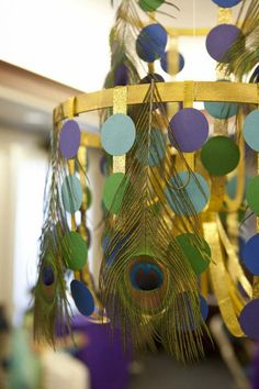 Awesome Egyptian Party – Do it yourself Chandelier by Jen of Banner Events - Diy-Selbermachen Peacock Birthday Party, Spa Birthday Parties, Spa Party, 7th Birthday, Egyptian Themed Party, Peacock Theme, Peacock Baby, Banner, Party Themes